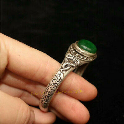 Collect Old Chinese Tibetan silver carved Dragon inlay greenstone jade Bracelet 3