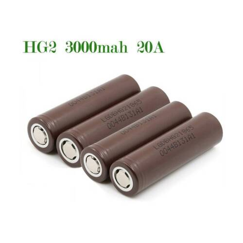 4x LG INR 18650 HG2 Rechargeable High Drain Li-ion Battery 3000mAh Flat Top Vape
