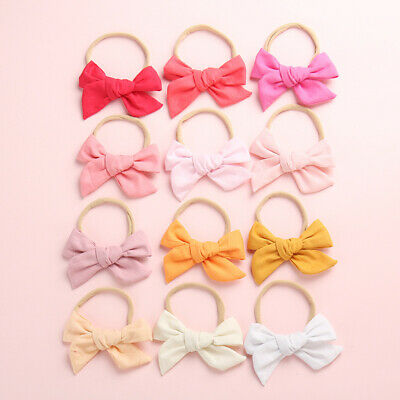 Baby Kids Toddler Soft Cotton Bow Tie Ring Nylon Headband Girls Hair Accessories 2