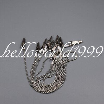 5 Pc Napkin Holder Dental Lab Bib Crocodile Clip Clamp Flexible Metal Ball Chain 12