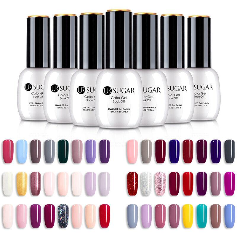 UR SUGAR 15ml Colorful Gel Polish Summer Glittery Soak Off UV Gel Varnish Decors 5