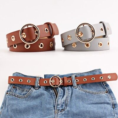Woman Hollowed Out Air Eye Lady Belt Wide Waist Belts Faux Leather Waistbands 4