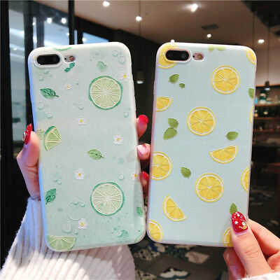 For iPhone X 8 6s 7 Plus Cute Fruits Pattern Slim Relief Matte Soft Case Cover 4