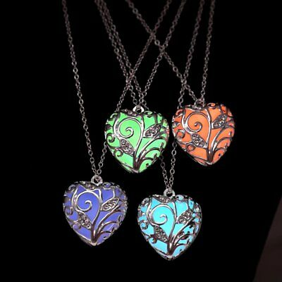 Luminous Steampunk Magic Fairy Locket Heart Glow In The Dark Pendant Necklace