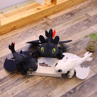 """10""""/14"""" UK How to Train Your Dragon 3 Toothless Night Fury Light Fury Plush Doll 2"""