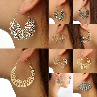 Boho Women Jewelry Holiday Gypsy Tribal Ethnic Mandala Hollow Hoop Earrings Gift 8