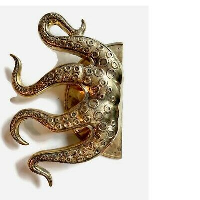 """massive OCTOPUS Solid 100% Brass hollow hand POLISHED Door PULL HANDLE 18""""high B 7"""