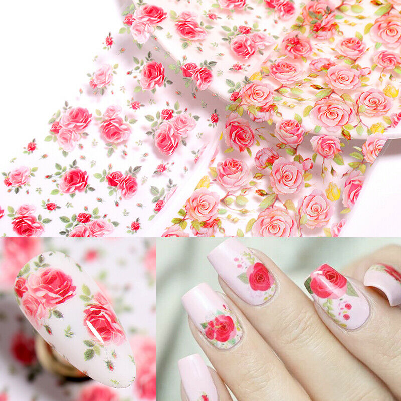 10 Sheets Nail Art Foils Stickers Flower Pattern Transfer Decals Decoration DIY 10
