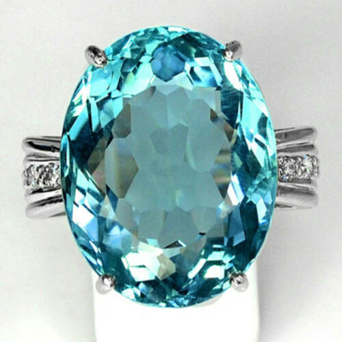 925 Sterling Silver Rings Aquamarine Flower Drop Rings Wedding Jewelry Size#6-10 3