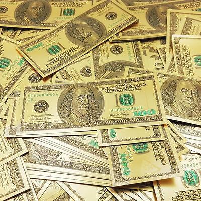 10pcs UNC 1:1 US$100 Dollar Gold Foil Golden Paper Money Banknotes Crafts New KK