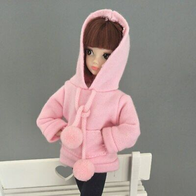 Pink Sweatshirt Doll Clothes Outfits Leather Pants Canvas Shoes For 1/6 Doll Toy 10