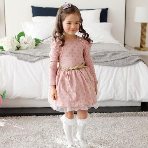 Kids Girls Long Sleeve Princess Dress Tops Tunika Skirt Spring Clothes Age 2-9Y 11