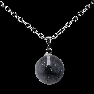 Round Ball Pendant Necklace Gemstone Rock Crystal Quartz Chakra Natural Stone 6