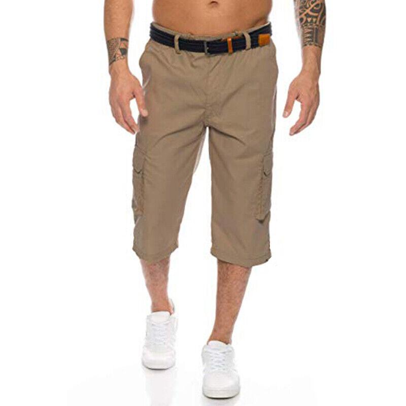 Mens 3/4 Length Cargo Coombat Pants Casual Loose Elastic Waist Shorts Trousers 6