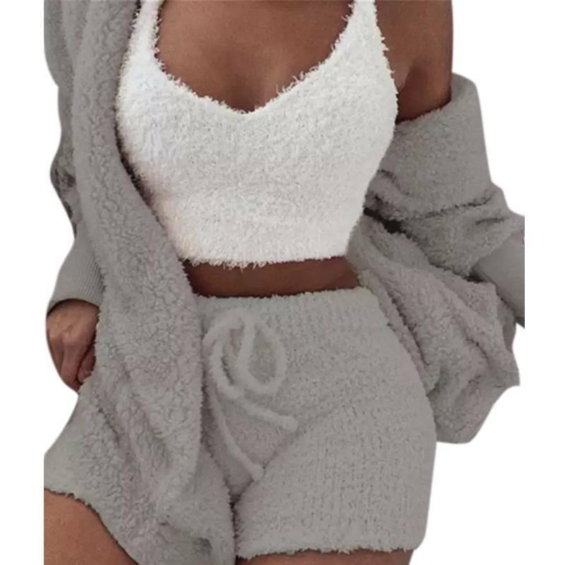 Women Fleece Sleepwear Hoodie Jacket + Crop Top + Shorts 3PCS Outfits Loungewear 7