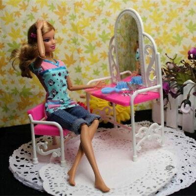 Fashion Pink Bed Dressing Table & Chair Set For Barbies Dolls Bedroom Furniture 10
