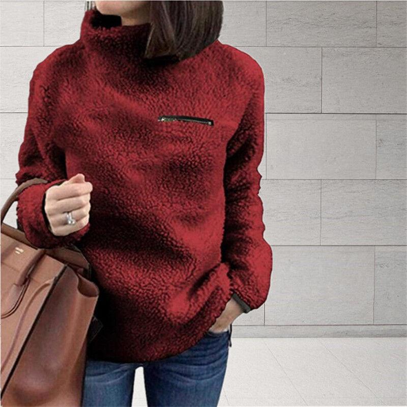 Women Fleece Fur Sweater Plus Size Long Sleeve Baggy Winter Tops Jumper Pullover 9