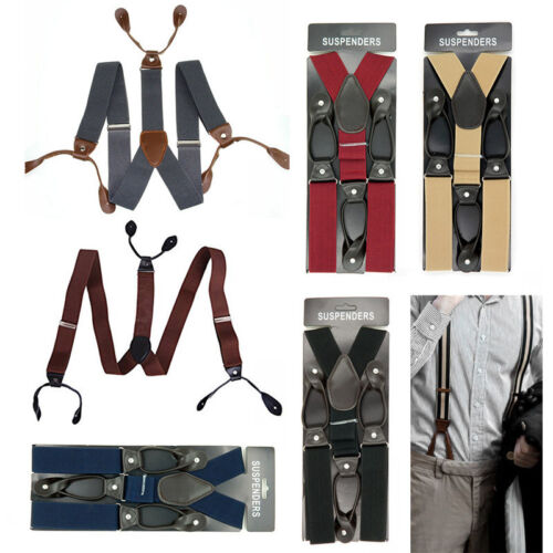 Mens Leather Elastic Suspenders Y-Back Button with Holes Adjustable Belt Braces 2