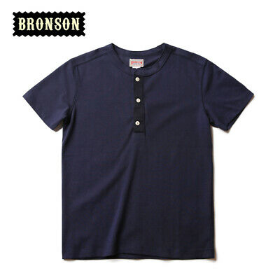 Bronson Henley Tee Shirts For Men Summer Vintage Cotton T-Shirts Short Sleeve 2