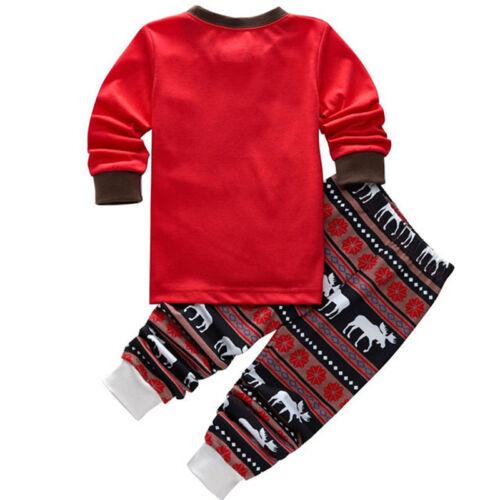 2Pcs Kids Boys Girls Christmas Pajamas Sleepwear Nightwear Xmas PJ's Outfits Set 8