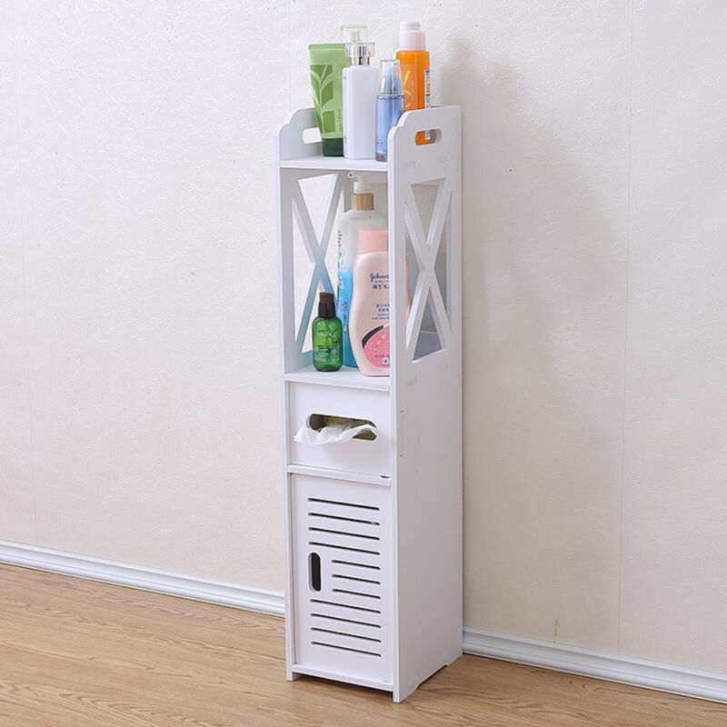 White Bathroom Furniture Storage Cupboard Cabinet Shelves: WHITE UNIT BATHROOM Furniture Cabinet Wood Slim Shelf