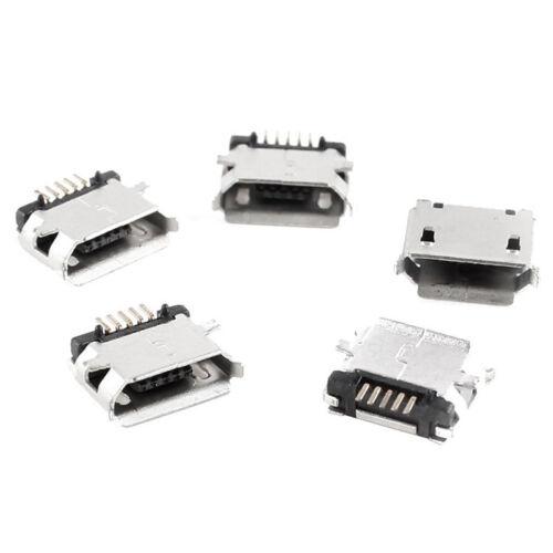 20 Pcs Micro USB Type B Female 5-Pin Socket 180 SMD Soldering Degree  J7 2
