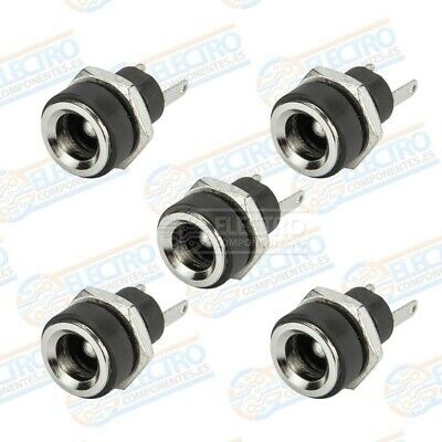 5x Conector DC Jack Hembra Chasis 5,5mm x 2,1mm tuerca alimentacion 5.5 2.1 3