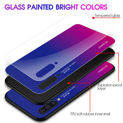 For Samsung Galaxy A50 A40 A20e A70 A80 Gradient Tempered Glass Back Case Cover 11