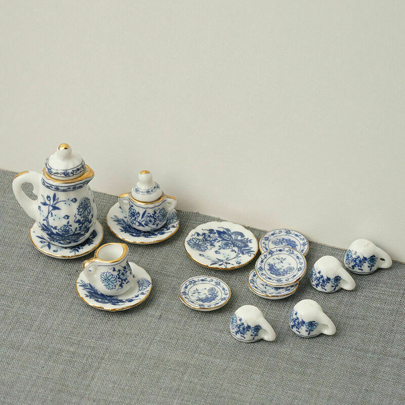 15Pcs Dining Ware Ceramic Blue Flower Set For 1:12 Miniatures Dollhouse A2X8 7