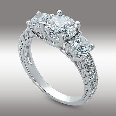 f9edac345f6df 2.61 CT 3 Stone Brilliant Cut Engagement ring Past Present Future 14K White  Gold