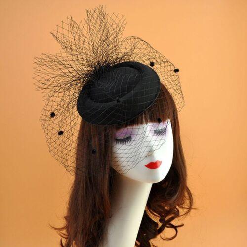Girls Felt Fascinator Hat Topper Mesh Fishnet Veil Hair Clips Wedding Cocktail 4