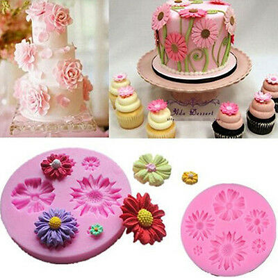3D Flower Fondant Cake Mold Silicone Mould DIY Cookie Sugarcraft Bake Decor Tool