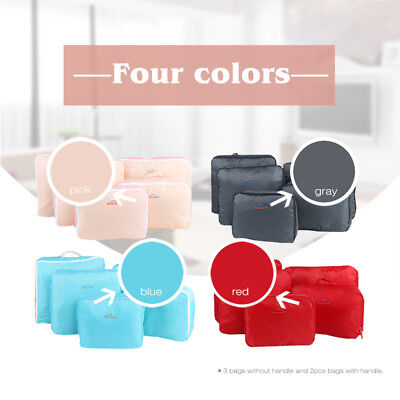 5Pcs Packing Cubes Travel Pouches Luggage Organiser Clothes Suitcase Storage Bag 9