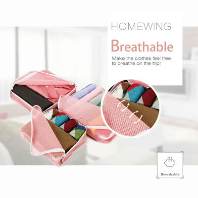 5Pcs Packing Cubes Travel Pouches Luggage Organiser Clothes Suitcase Storage Bag 5