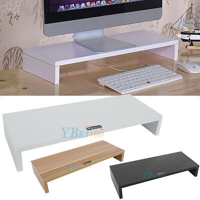 CHIC Computer Screen Desktop Stand Wooden Monitor Laptop TV Riser Pockets Holder