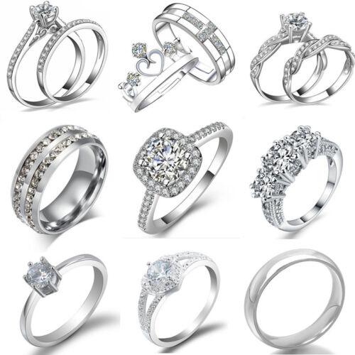Women Engagement Wedding Ring Crystal Rhinestone White Gold Plated Rings Jewelry 3