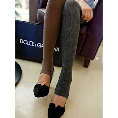 Women Winter Cable Knit Sweater Footed Tights Warm Stretch Stockings Pantyhose j 4