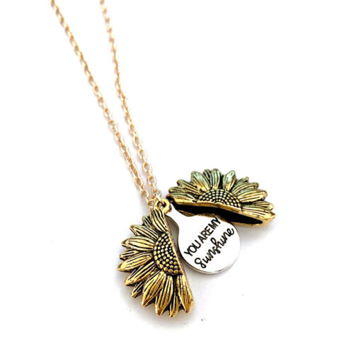 You are my sunshine Open Locket Sunflower Pendant Chain Necklace Jewelry Gift US 8