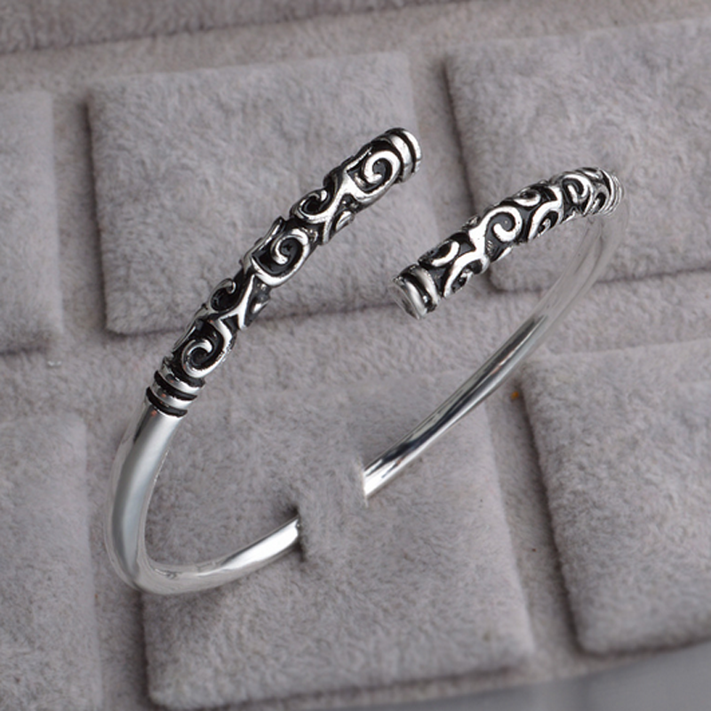 Silver Vintage Viking Open The Cuff Bracelet Bangle Indian Jewelry For Men Gift 6