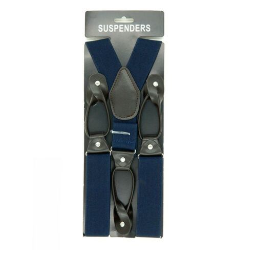 Mens Leather Elastic Suspenders Y-Back Button with Holes Adjustable Belt Braces 8