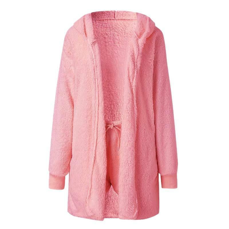 Women Fleece Sleepwear Hoodie Jacket + Crop Top + Shorts 3PCS Outfits Loungewear 12