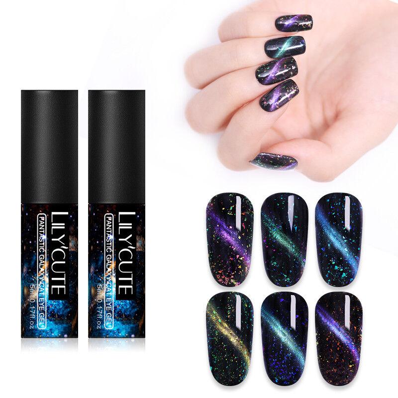 LILYCUTE Magnetic Cat Eye UV Gel Polish Sequins Soak Off Nail Art Varnish Tools 9