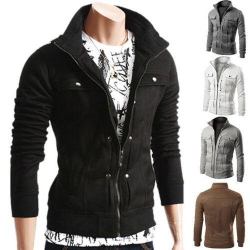 Men Stand Collar Slim Fit Winter Zip Coat Top Military Jacket Sweatshirt Outwear 4