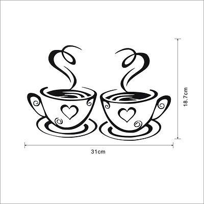 Coffee Cups Cafe Tea Wall Stickers Art Vinyl Decal Kitchen Restaurant Pub Decor 6