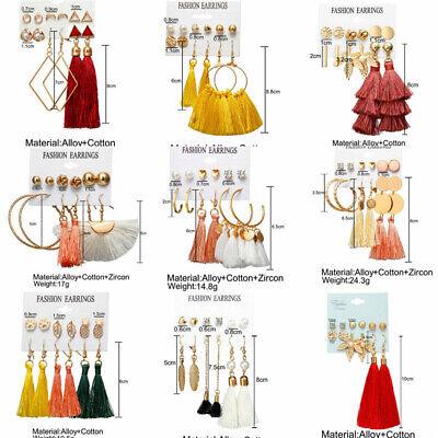6Pairs Boho Tassel Crystal Pearl Earrings Set Women Ear Stud Dangle Jewelry Gift 6