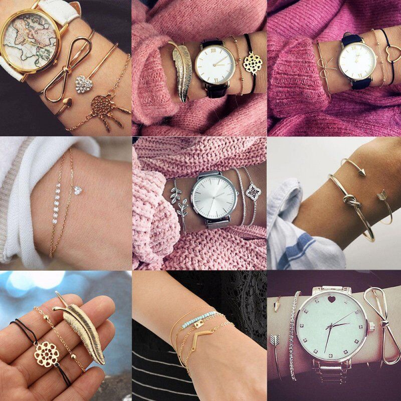 New Fashion Women Boho Gold Silver Bracelets Rhinestone Bangle Cuff Jewelry Set 3