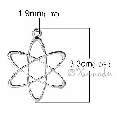 5 Or 10PCs Atom Charms Atomic Structure Silver Plated Pendants C7163-2