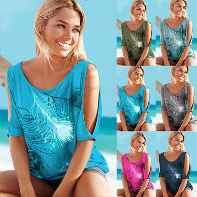 Women Summer Cold Shoulder Loose Top Blouse Ladies Casual Tops T-Shirt Plus Size 3