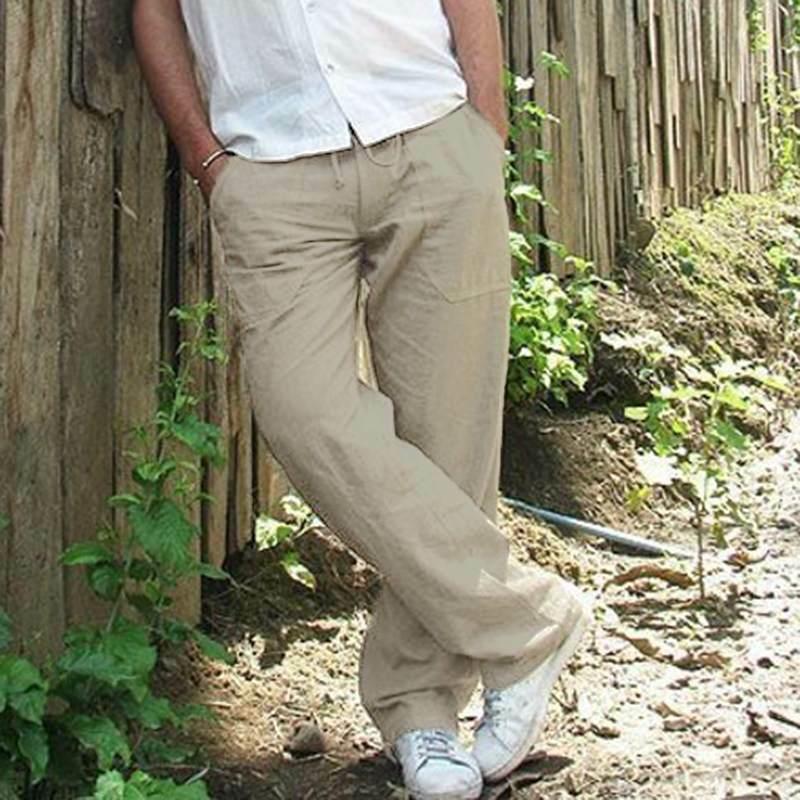 Mens Cotton Linen Loose Pants Summer Casual Beach Drawstring Trousers Slacks UK 5
