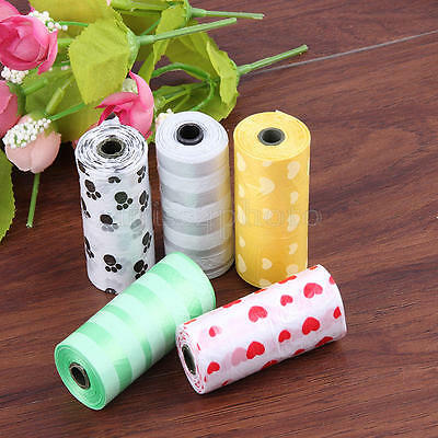 5Rolls Pet Poo Poop Bag Dog Cat Waste Garbage Pick Up Clean Refill Garbage Bags 6